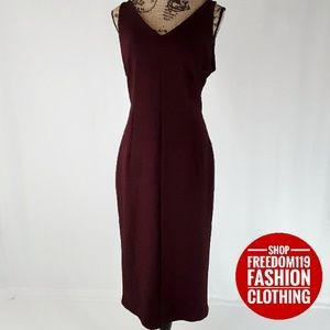 Metaphor | Sleeveless V Bodycon Zip Midi Dress(L)